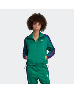 ADIDAS ORIGINALS Women's Floral Track Jacket in Bold Green