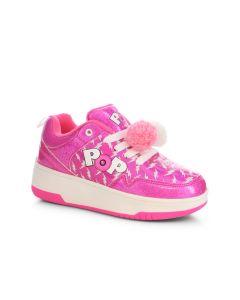HEELYS Pop Contend Roller Sneaker in Light Pink/Hot Pink Glitter