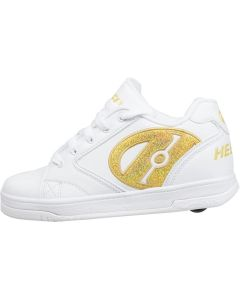 HEELYS Propel 2.0 Roller Sneaker in White/Gold in Size 3