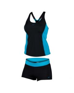 NIKE Women's Color Surge Powerback Tankini Set in Black