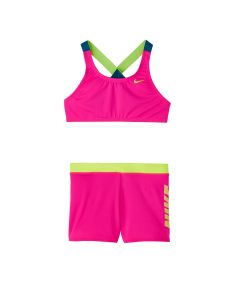 NIKE Girls' Crossback Sport Bikini & Short Set in Laser Fuchsia