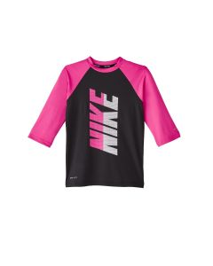 NIKE Girls' Short Sleeve Hydroguard in Black