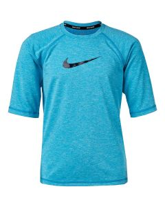 NIKE Boys' Heather Camo Swoosh Half Sleeve Hydroguard in Lt Blue Fury