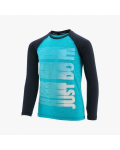 NIKE Boys' Heather JDI Long Sleeve Hydroguard in Lt Blue Fury