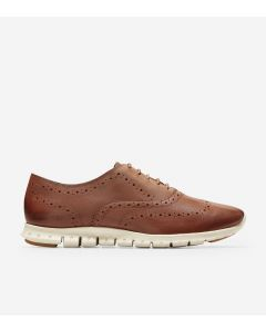 COLE HAAN ZERØGRAND Women's Wingtip Oxford in Woodbury Leather-Ivory